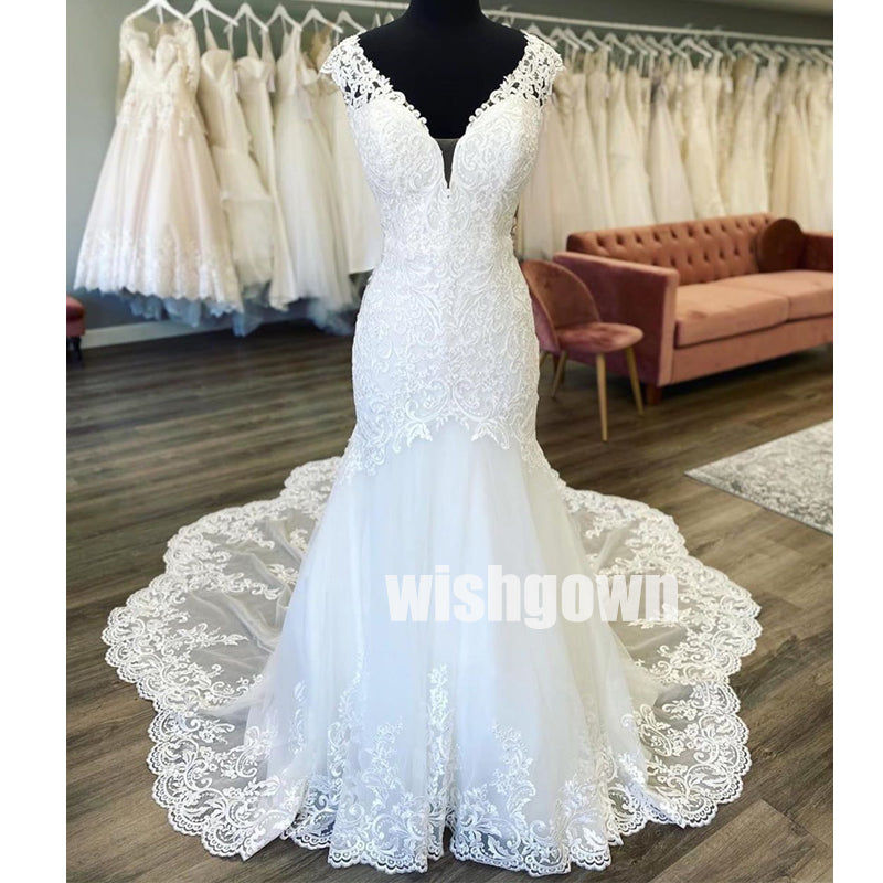 Pretty Elegant Open Back  Lace Long Bridal Dresses WDH019