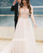 Cheap Elegant V-neck Cap Sleeve Chiffon Long Bridal Dresses WDH020