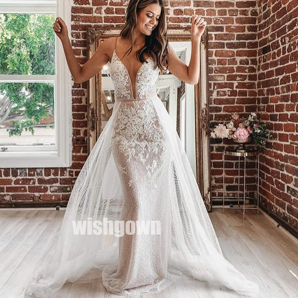 Sexy V-neck Spaghetti Strap Lace Long Bridal Dresses WDH021