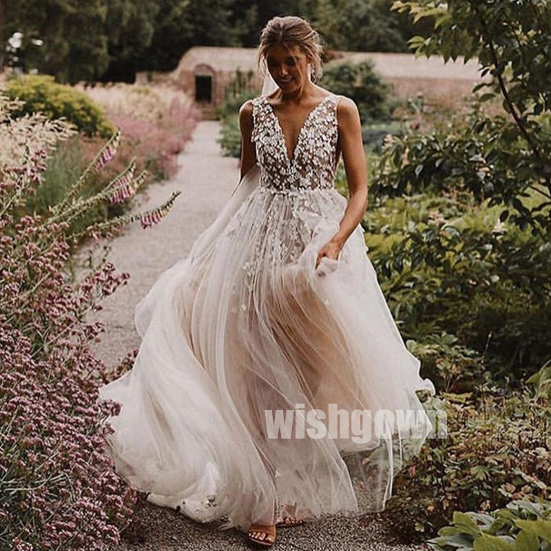 Elegant V-neck Flower prints Dream Bridal Dresses WDH023