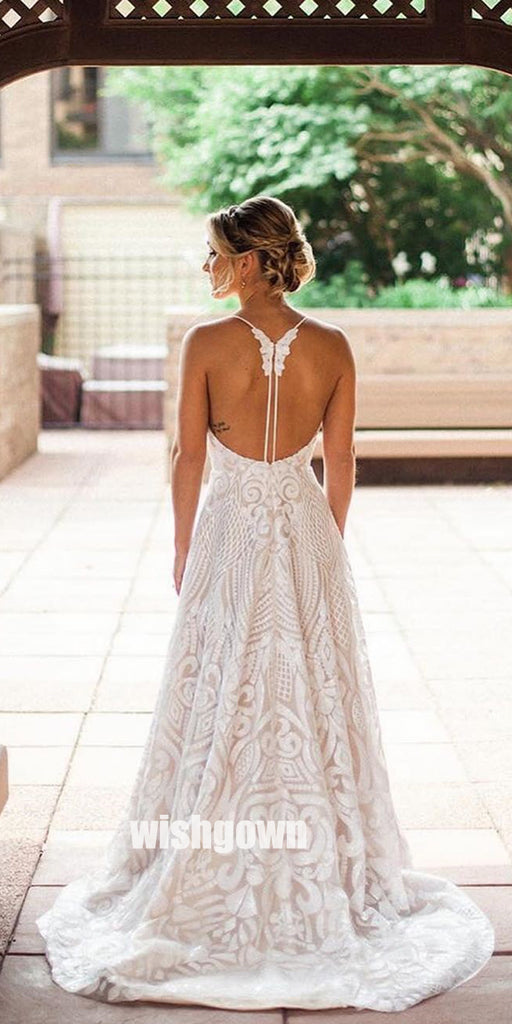 Pretty Open Back Spaghetti Strap Lace Bridal Dresses WDH025