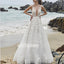 Elegant V-neck Floral Prints Applique Lace Bridal Dresses WDH027