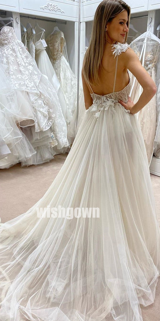 Sexy V-neck Floral Prints Split Side Tulle Bridal Dresses WDH028