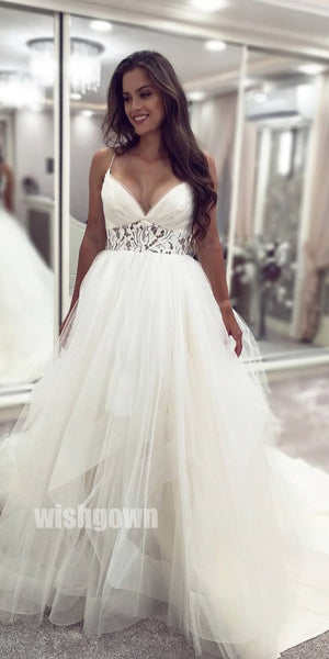 Princess Ball Gown V-neck Spaghetti Strap Tulle Bridal Dresses WDH029