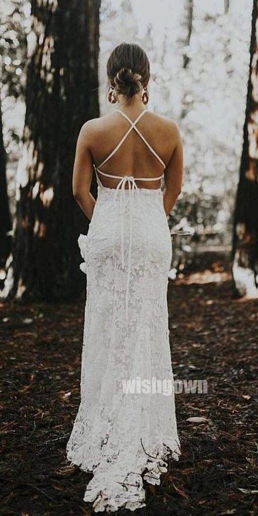 Sexy Backless Halter Mermaid Lace Dream Bridal Dresses WDH032