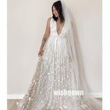Floral Prints Deep V-neck Wedding Dresses Tulle Bridal Dresses WDH034