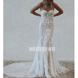 Floral Prints Sweetheart Mermaid Lace Long Bridal Dresses WDH035