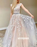 A-line Cap Sleeve Open Back Tulle Long Bridal Dresses WDH036