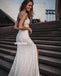 Elegant V-neck Spaghetti Strap Mermaid Applique Long Bridal Dresses WDH037