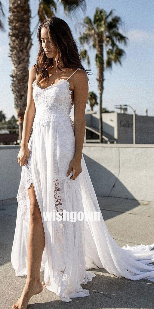 Sexy Spaghetti Strap Open Back Long Wedding Dresses WDH039