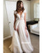 Simple Lace Top Split Side Long Wedding Dress WDH042