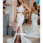 Two Piece V-neck Split Side Long Wedding Dress WDH043