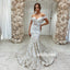Elegant Off Shoulder Mermaid Long Wedding Dress WDH054