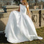 Simple White Sleeveless Long Wedding Dress WDH056