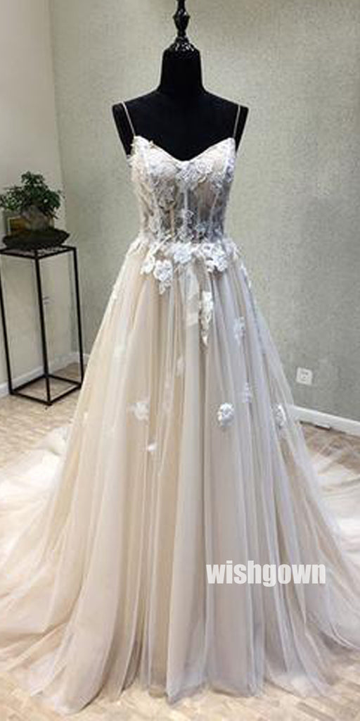 Elegant Applique Spaghetti Straps Tulle Wedding Dress WDH065