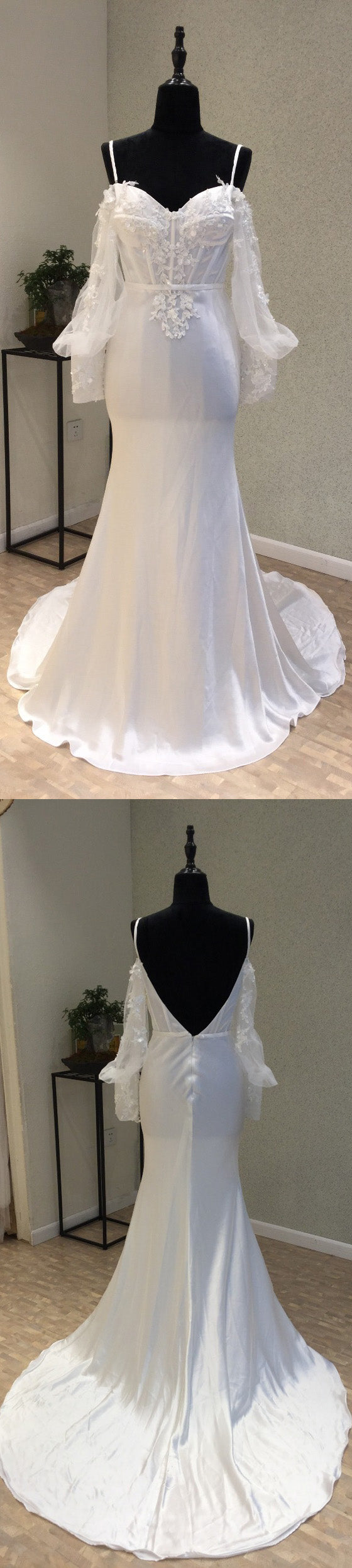Long Sleeves Spaghetti Strap Mermaid Sexy Backless Long Wedding Dresses, WG1232