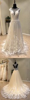 Cap Sleeves Lace On Sale Formal Bridal Long Wedding Dress, WG1201