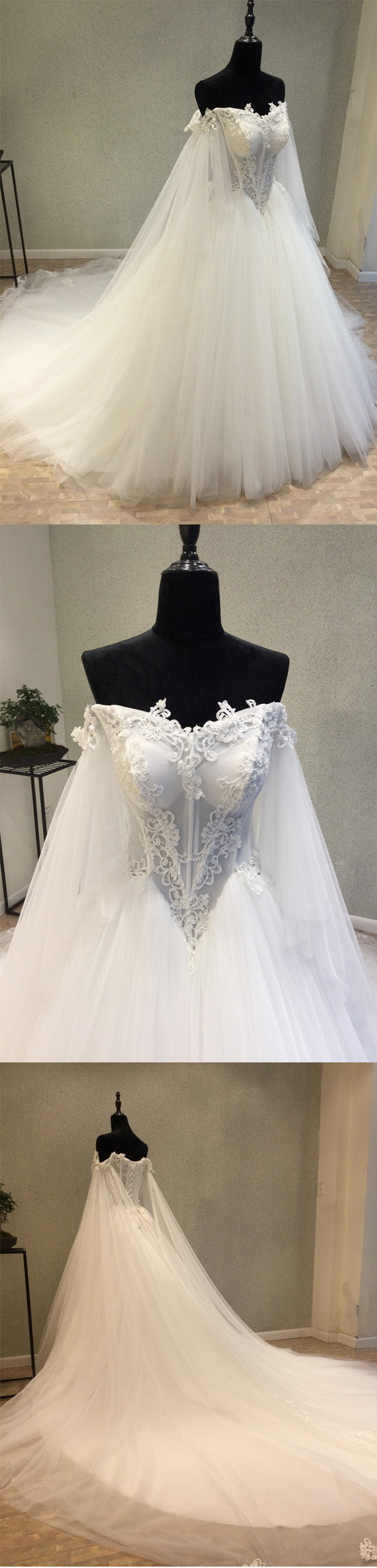 Affordable Off the Shoulder Charming Long Wedding Dresses, WG1236
