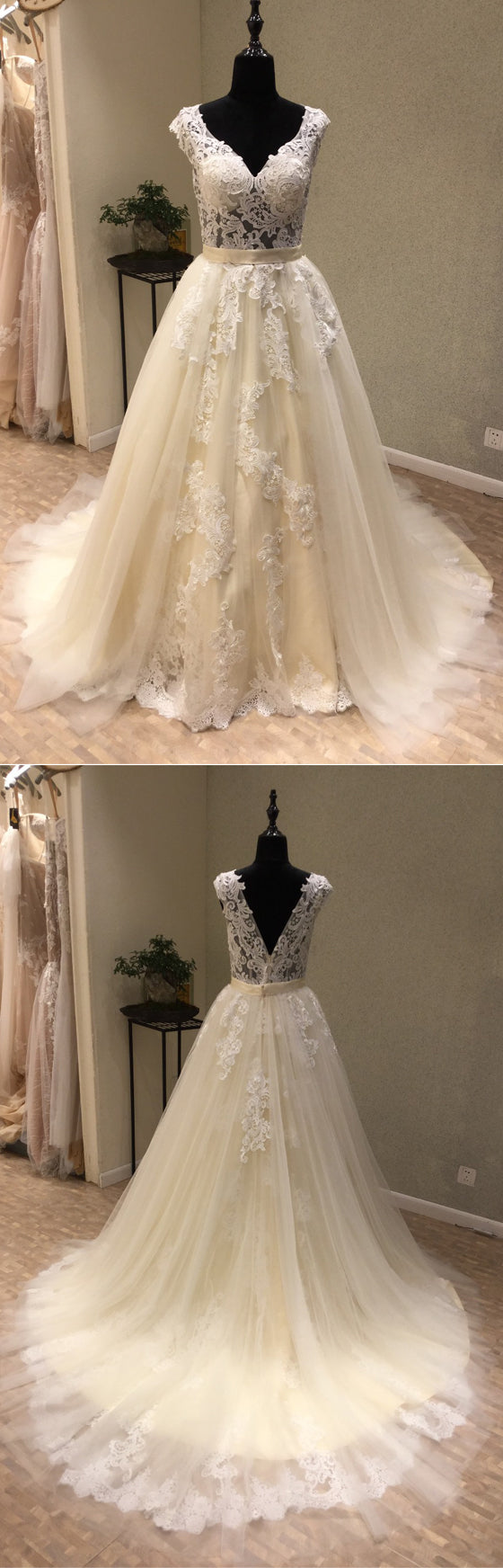 Tulle Applique V Back Formal A Line Long Wedding Dress for Brides, WG1205