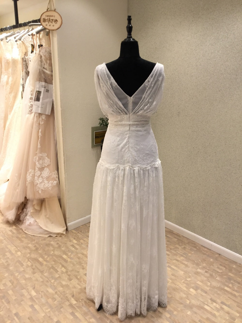 Unique Design V Neck Lace Beach Long Brides Wedding Dresses, WG1216