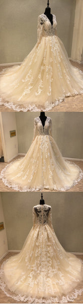 Luxury Long Sleeves Tulle Applique Charming Long V Neck Bridal Wedding Dress, WG680