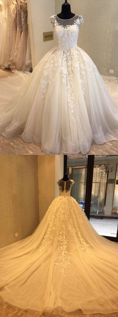 Cap Sleeve Charming Applique Tulle Long Wedding Dresses, WG1228 - Wish Gown
