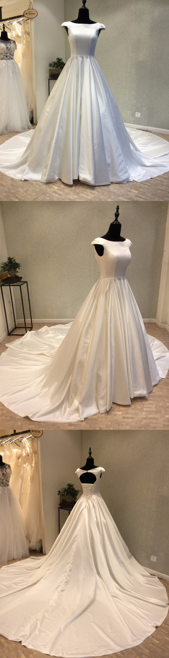 Cap Sleeves Simple Satin Open Back Lace Up Back Cheap Wedding Dress, WG698