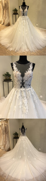 Beautiful Unique Sexy Tulle Applique Gorgeous Bridal Long Wedding Dress, WG1202 - Wish Gown