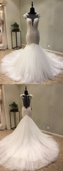 Cap Sleeves Mermaid Sexy Seen Through Long Wedding Dress for Brides, WG1206 - Wish Gown