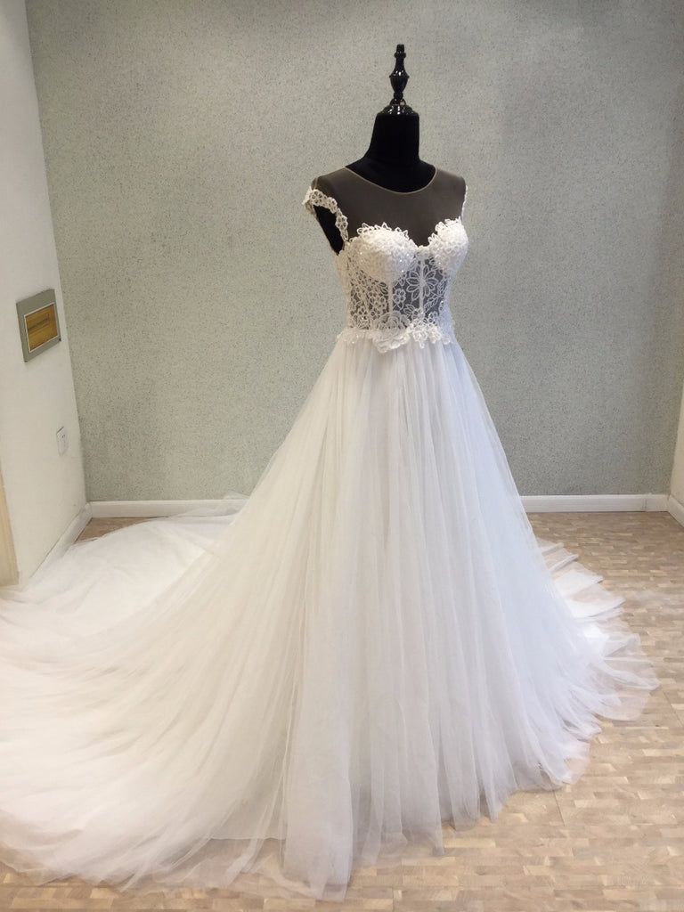 Cap Sleeves Formal Online Inexpensive Long Wedding Dress for Brides, WG1210 - Wish Gown