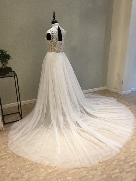 Cap Sleeves Affordable High Neck Modest Long Wedding Dresses, WG1237 - Wish Gown