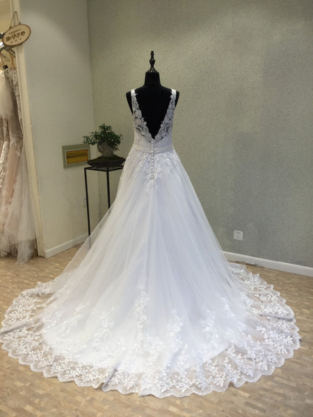 Tulle Lace V Neck Formal A Line Long Bridal Wedding Dress, WG1215