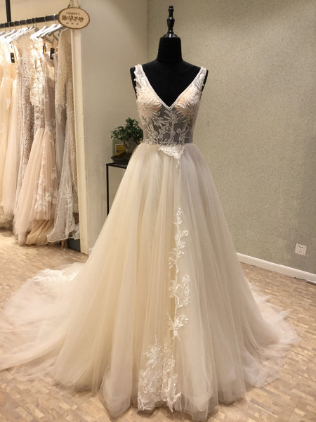 Charming V Neck Tulle Applique V Back Long Wedding Dress for Brides, WG1207 - Wish Gown