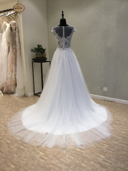 Cap Sleeves Formal Inexpensive Bridal Wedding Dress, WG1213 - Wish Gown