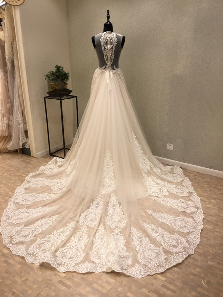 Sexy Seen Through Charming Applique Tulle Long Wedding Dresses, WG1227
