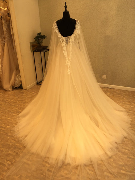 Charming Gorgeous Tulle Applique Affordable Long Brides Wedding Dresses, WG1217 - Wish Gown