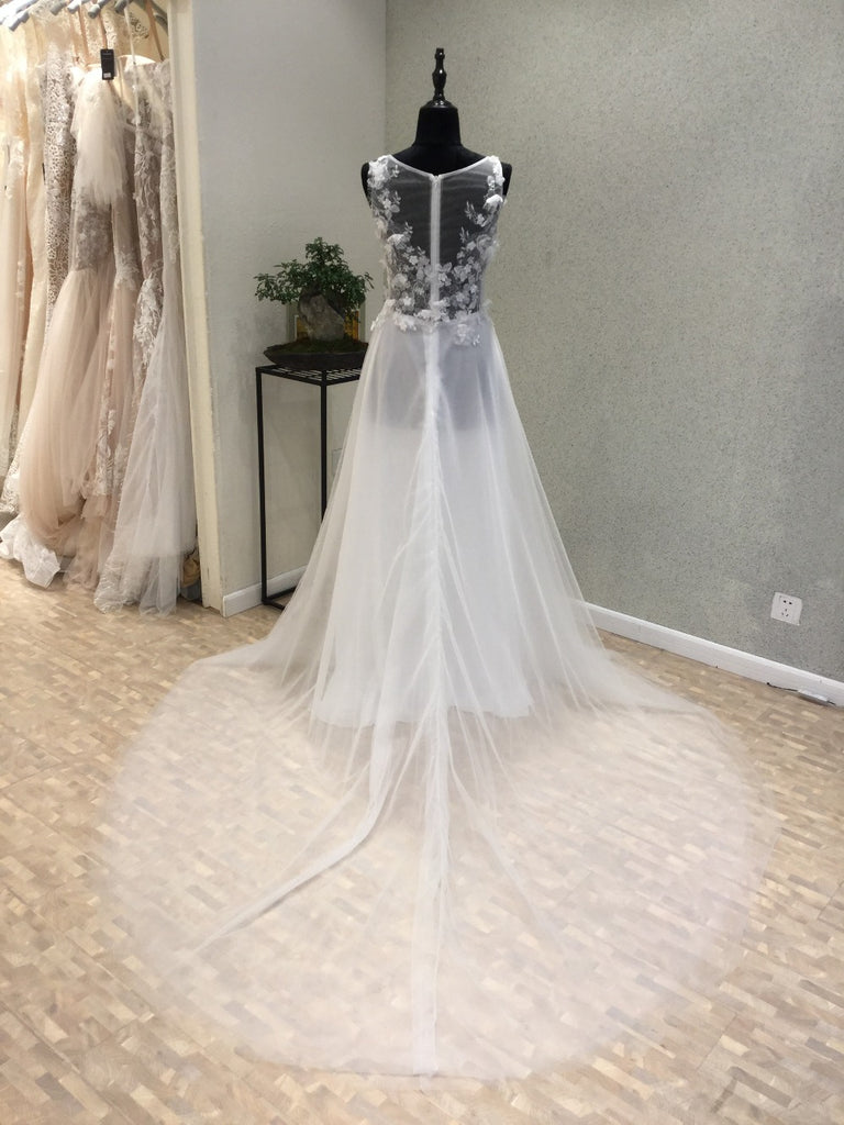 Beautiful Sexy Seen Through Beach Long Bridal Wedding Dress, WG1214 - Wish Gown