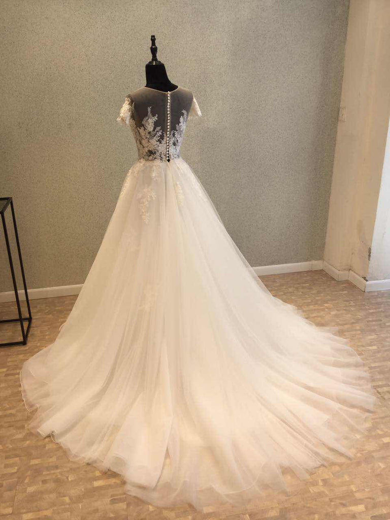 Short Sleeves Tulle Applique Charming Long Bridal Wedding Dress, WG681