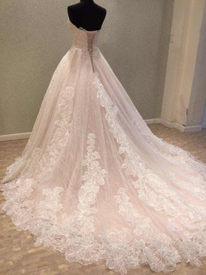 Unique Sweetheart Charming Long Bridal Wedding Dress with Lace Up Back, WG682