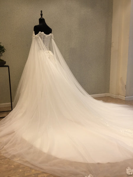 Affordable Off the Shoulder Charming Long Wedding Dresses, WG1236 - Wish Gown