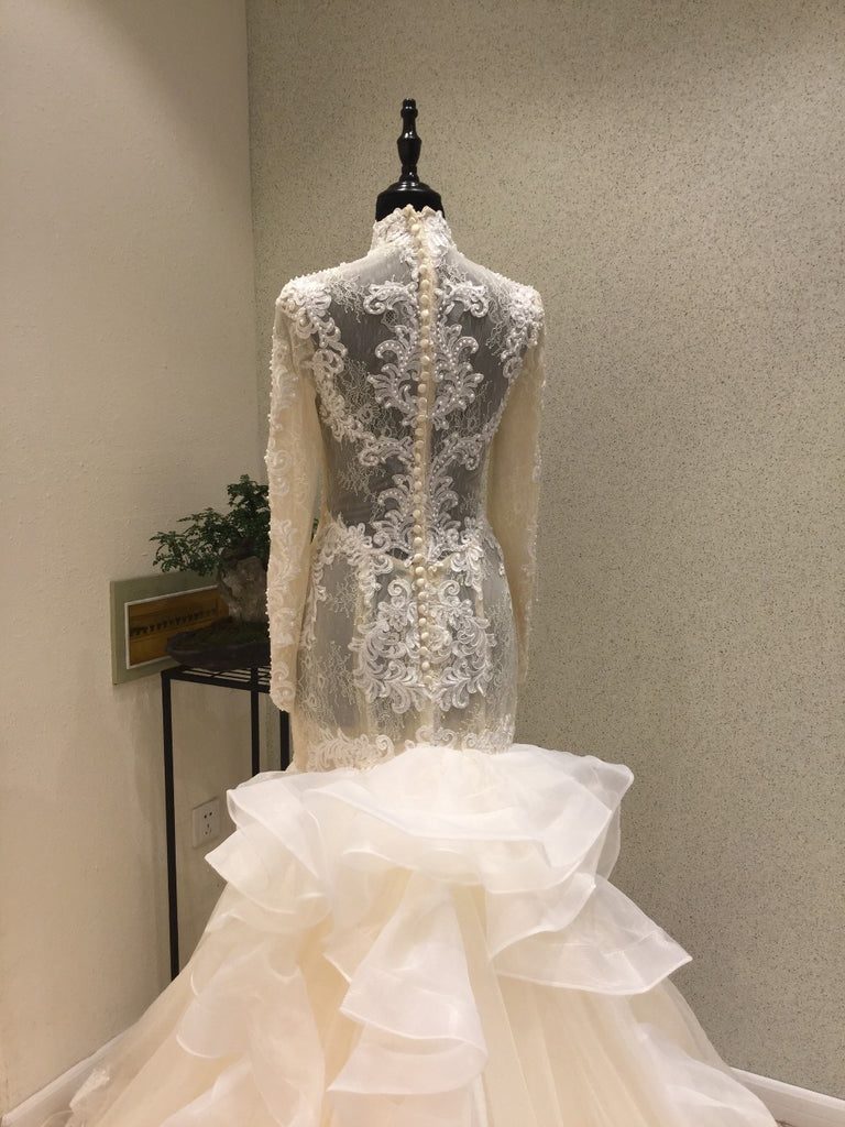 Gorgeous Long Sleeves High Neck Mermaid Long Wedding Dresses, WG1223 - Wish Gown