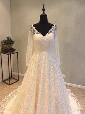 Long Sleeves V Neck Formal Lace Long Cheap Bridal Wedding Dress, WG690