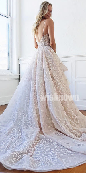 A-line Unique Applique Charming Long Wedding Dresses YH1113