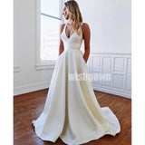 Simple Cheap A-line Long Wedding Dresses with Bow YH1114