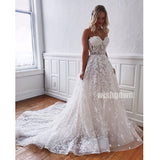 Sweetheart A-line Lace Applique Long Wedding Dresses YH1115