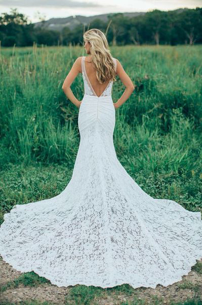 Affordable Mermaid Lace V Neck Elegant V Back Long Wedding Dresses, BW156 - Wish Gown