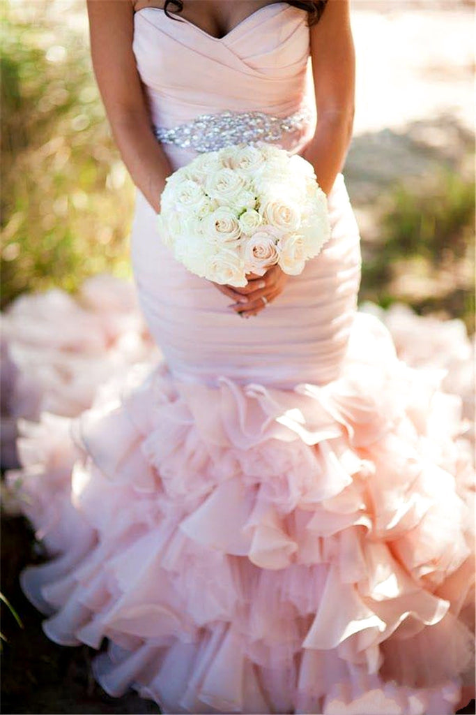 Pink Sweetheart Mermaid Lace Up Popular Cheap Wedding Dresses, WD0150