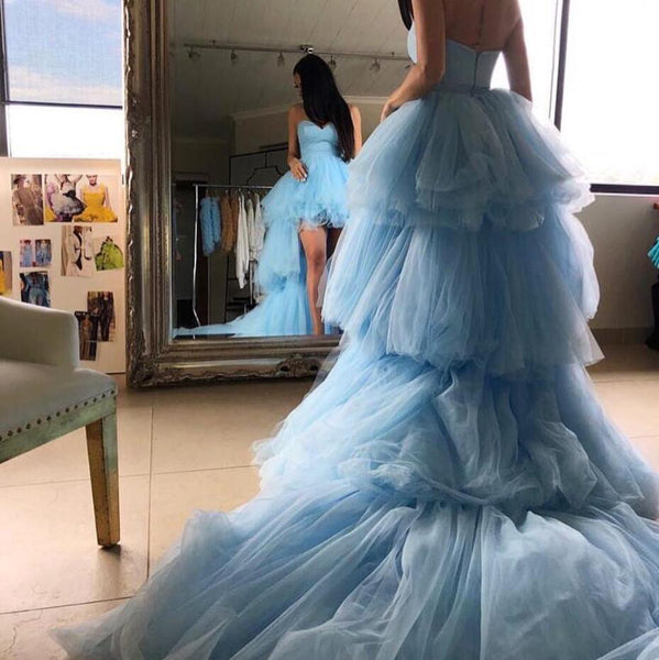 Sweetheart Blue Tulle High Low Prom Wedding Dresses with Long Train, STZ319