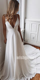 A-line Spaghetti Strap Long Wedding Dresses YH1110