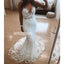 V-neck Mermaid Lace Applique Long Wedding Dresses YH1116